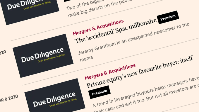 Due Diligence page on the FT website