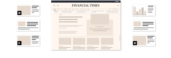 Graphic depicting how the Financial Times is a unique source of news and analysis