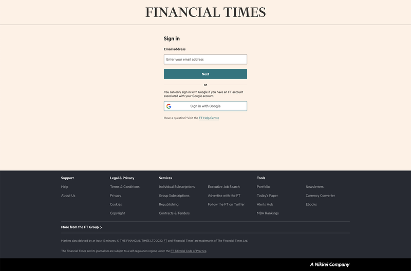 FT website login page